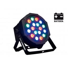BAT72 AMS PAR LED BATTERIE 18 LEDs RGB de 1W